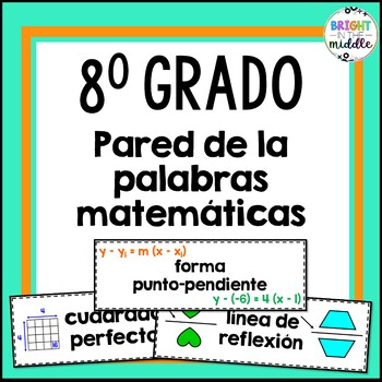 8th Grade Math Word Wall - In Spanish: 194 Words