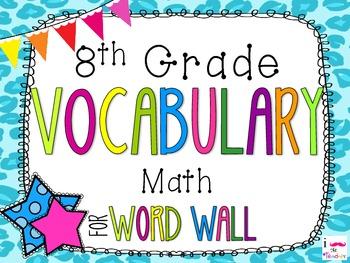 8th Grade Math Word Wall Vocabulary Cards **Cheetah Print**