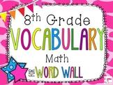 8th Grade Math Word Wall Vocabulary Cards **Giraffe Print**