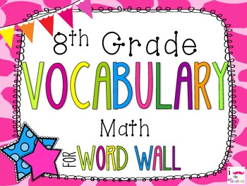 8th Grade Math Word Wall Vocabulary Cards **Giraffe Print**