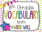 8th Grade Math Word Wall Vocabulary Cards **Neon Stars**