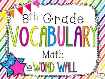 8th Grade Math Word Wall Vocabulary Cards **Rainbow Stripes**