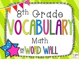 8th Grade Math Word Wall Vocabulary Cards **Zebra Print**
