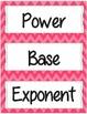 8th Grade Math Word Wall (bright chevron and dots)