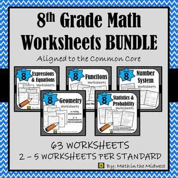 8th Grade Math Worksheets/Homework Paper + Digital Bundle