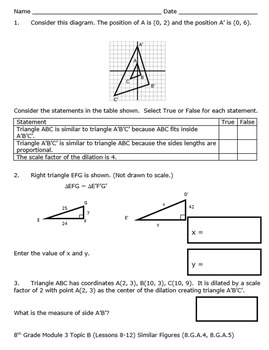 8th Grade Module 3 Quizzes for Topics A to C - Editable - SBAC