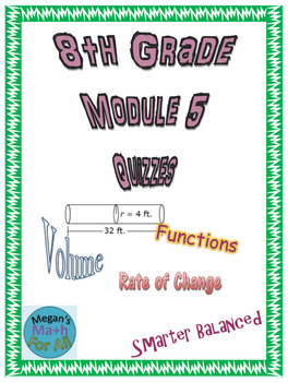 8th Grade Module 5 Quizzes for Topics A and B - Editable