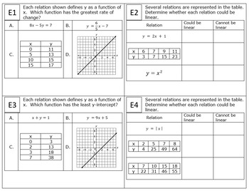 8th Grade Module 5 Task Cards - Functions - SBAC - Editable