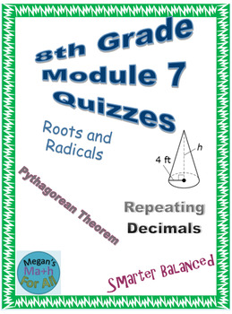 8th Grade Module 7 Quizzes for Topics A to D - Editable
