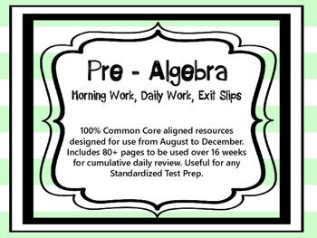 Pre-Algebra 8th Grade Math Daily Morning Work Part 1