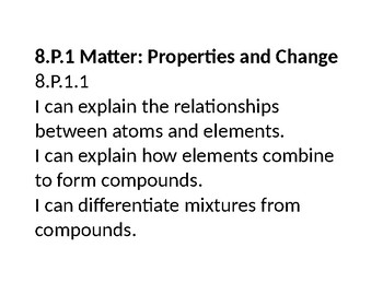 """8th Grade NC Science """"I CAN"""" Statements"""