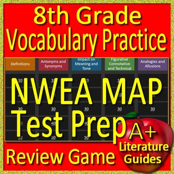 8th Grade NWEA MAP Reading Test Prep Vocabulary Practice Review Game