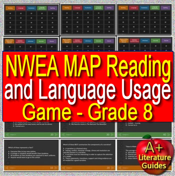 8th Grade NWEA MAP Test Prep Reading and Language Usage Skills Game #1