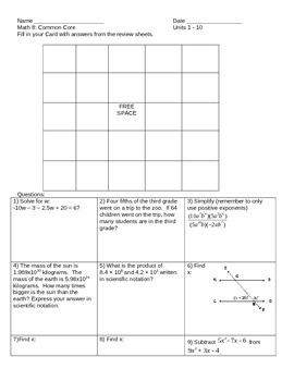 8th Grade NYS Common Core Final Review Sheet