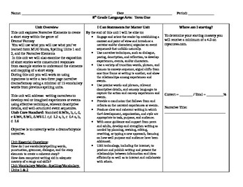 8th Grade Narrative Common Core Spelling Vocabulary #2