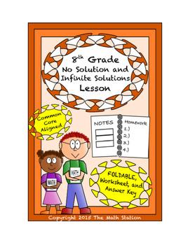 8th Grade No Solution/Infinite Solutions Equations Lesson: FOLDABLE & Homework