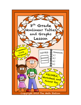 8th Grade Nonlinear Tables and Graphs Lesson: FOLDABLE & Homework