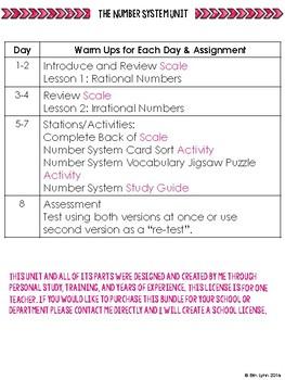 8th Grade Number System Mega-Bundle w/Activities Go Math