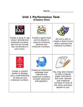 8th Grade Number System Performance Task