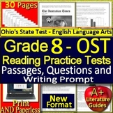 8th Grade Ohio AIR Test Prep Practice Tests for ELA - Print AND Paperless!