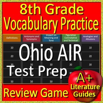 8th Grade Ohio State Test AIR Prep Reading Vocabulary Practice Review Game