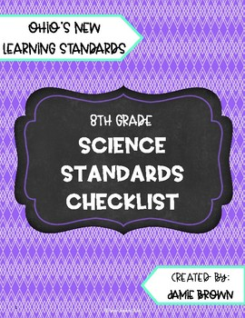 8th Grade Ohio Science Standards Checklist