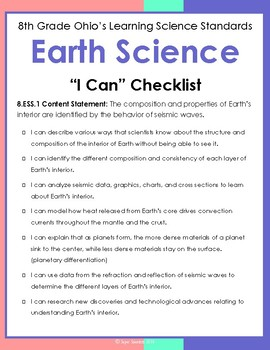 8th Grade Ohio Science Standards Checklist By Super Scientists Tpt