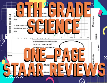 8th Grade One-Page Reviews (Lab Safety to Weather Maps)