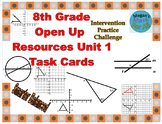 8th Grade Open Up Resources Unit 1 Math Task Cards - Editable - SBAC
