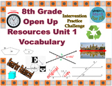 8th Grade Open Up Resources Unit 1 Math Vocabulary Cards - Editable - SBAC