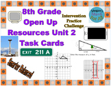 8th Grade Open Up Resources Unit 2 Math Task Cards - Editable - SBAC