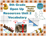8th Grade Open Up Resources Unit 2 Math Vocabulary Cards - Editable - SBAC