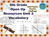 8th Grade Open Up Resources Unit 3 Math Vocabulary Cards - Editable - SBAC