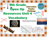 8th Grade Open Up Resources Unit 4 Math Vocabulary Cards- Editable - SBAC