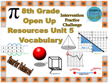 8th Grade Open Up Resources Unit 5 Math Vocabulary Cards - Editable - SBAC