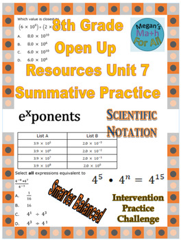 8th Grade Open Up Resources Unit 7 Math Summative Practice - Editable - SBAC