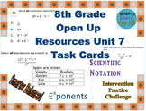 8th Grade Open Up Resources Unit 7 Math Task Cards - Editable - SBAC
