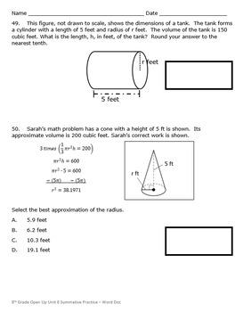 8th Grade Open Up Resources Unit 8 Math Summative Practice - Editable - SBAC