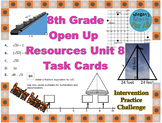 8th Grade Open Up Resources Unit 8 Math Task Cards - Editable - SBAC