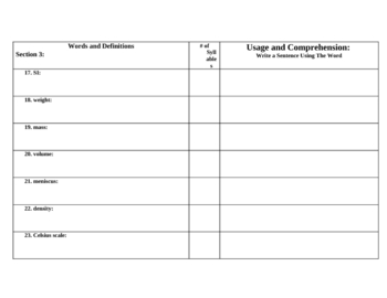 8th Grade Physcial Science Section Questions