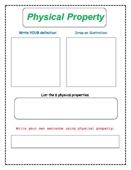 8th Grade Physical Properties Vocabulary Packet