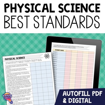 """8th Grade Physical Science """"I Can"""" Student Checklists Flor"""