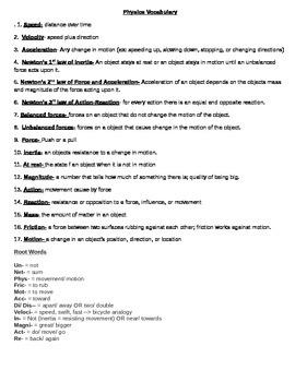 8th Grade Physics Vocab & Prefix/ Root Words