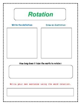 8th Grade Planetary Motion Vocabulary Packet