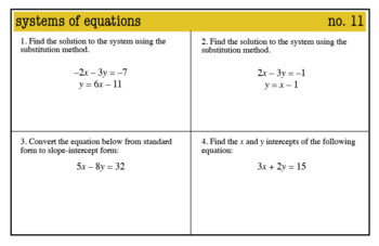 Warmups: Systems of Equations: 8th Grade Math (Common Core)