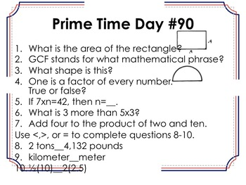 8th Grade Prime Time Questions and Answer Sheet (Warm-Ups or Bell Ringers)