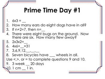 8th Grade Prime Time Questions and Answer Sheet (Warm-Ups