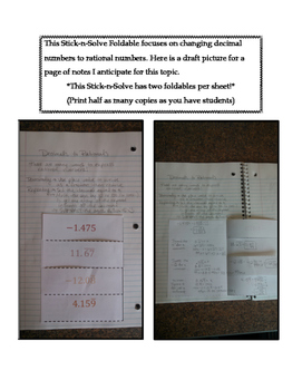 8th Grade Decimals to Rationals Lesson: FOLDABLE & Homework