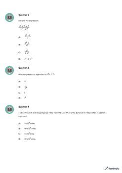 8th Grade Quiz: Equations & Exponents