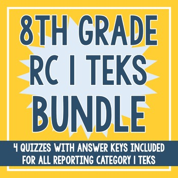 8th Grade RC 1 Quiz BUNDLE! (All RC 1 TEKS)